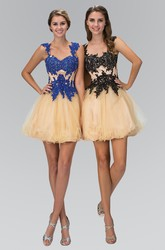 A-Line Short Cap-Sleeve Tulle Dress With Appliques And Beading