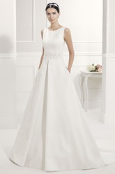Scoop Neck Taffeta Bridal Gown With Sequined Lace Sash And Back Bows