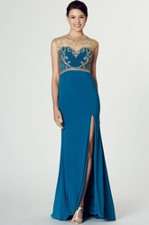 Sheath Beaded High Neck Long Cap-Sleeve Jersey Prom Dress With Illusion Back And Split Front