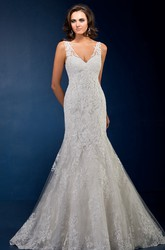 Sleeveless V-Neck Mermaid Gown With Appliques And V-Back