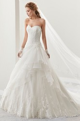Sweetheart A-Line Lace Bridal Gown With Asymmetrical Ruffles Overlayer And Lace-Up Back