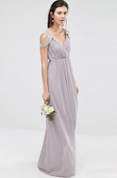 Sheath Beaded V-Neck Chiffon Bridesmaid Dress With Criss Cross