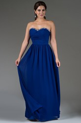 Sweetheart A-Line Chiffon Long Bridesmaid Dress With Crystal Neckline