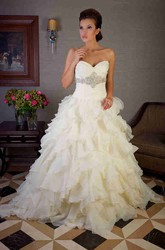 Ball Gown Tiered Sweetheart Organza Wedding Dress With Ruffles And Waist Jewellery