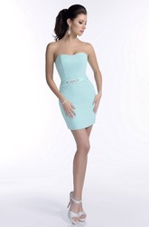 Form-Fitted Mini Satin Bridesmaid Dress With Crystal Embellished Waist