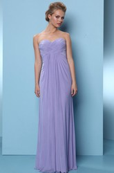 Floor-Length Criss-Cross Sleeveless Sweetheart Chiffon Bridesmaid Dress