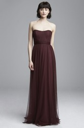 Sheath Strapless Ruched Floor-Length Sleeveless Tulle Bridesmaid Dress