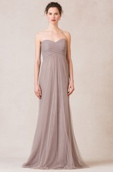 Floor-Length Sweetheart Sleeveless Criss-Cross Empire Tulle Bridesmaid Dress