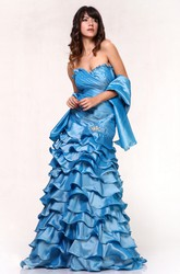 A-Line Sweetheart Sleeveless Satin Dress With Tiers And Ruching