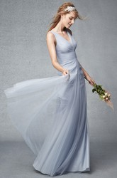 Floor-Length Sleeveless Ruched V-Neck Tulle Bridesmaid Dress With Pleats