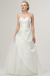 Sweetheart Floor-Length Beaded Satin Wedding Dress With Criss Cross And Corset Back