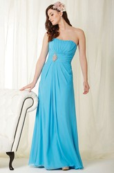 Strapless Floor-Length Jeweled Chiffon Bridesmaid Dress With Draping And Lace Up