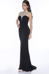Trumpet Jersey Brush Train Prom Dress With Sophisticated Rhinestones