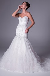 Trumpet Sweetheart Sleeveless Beaded Long Tulle Wedding Dress With Cascading Ruffles