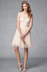 A-Line Short Ruched Cap Sleeve Bateau Neck Tulle Bridesmaid Dress With Pleats