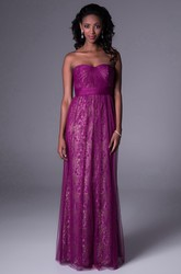 Sheath Sequined Sleeveless Sweetheart Long Tulle Bridesmaid Dress With Ruching And Lace