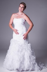 Trumpet Strapless Appliqued Long Lace Plus Size Wedding Dress With Cascading Ruffles And V Back
