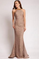 Sheath Sleeveless Long Appliqued Lace Prom Dress With Backless Style And Beading