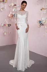 Sheath 3-4 Sleeve Bowed Scoop Neck Lace Wedding Dress With Brush Train