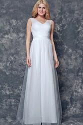 Elegant V-neck and V-Back Long Tulle Bridesmaid Dress With Sash and Pleats