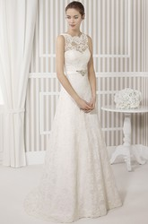 A-Line Sleeveless Scoop Floor-Length Appliqued Lace Wedding Dress With Waist Jewellery And Bow
