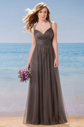 Sleeveless A-Line Tulle Gown With Crystals And Keyhole Back