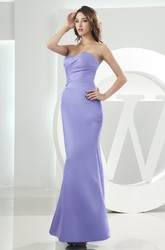 Simple Strapless Mermaid Satin Ankle-Length Bridesmaid Dress with Ruching