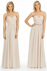 A-Line Floor-Length Criss-Cross Sweetheart Sleeveless Chiffon Bridesmaid Dress