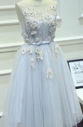 Short Cute Jewel Pleated Knee-length Tulle Dress With Appliques