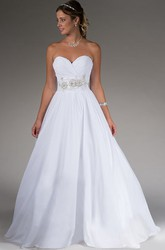 Sweetheart A-line Taffeta Bridal Gown With Beading-flower Waist