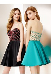 A-Line Mini Sleeveless Sweetheart Beaded Satin Cocktail Dress With Low-V Back