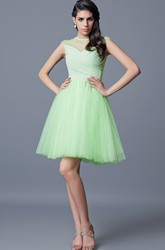 Cap Sleeve A-line Short Tulle Homecoming Dress With Beading and Pleats