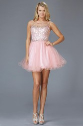 A-Line Mini Scoop-Neck Sleeveless Tulle Keyhole Dress With Beading And Ruffles