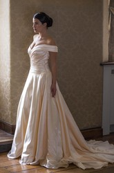 Off-The-Shoulder Long Satin Wedding Dress With Criss Cross And Court Train