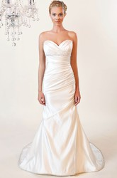 Trumpet Sweetheart Jeweled Floor-Length Taffeta Wedding Dress With Criss Cross And V Back
