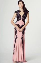 Sheath Appliqued Cap Sleeve High Neck Chiffon Prom Dress