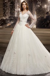 Illusion V-neck A-line Wedding Dress with Long Sleeves and Back Bow