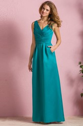 Sleeveless V-Neck A-Line Satin Bridesmaid Dress With Pockets And Keyhole Back