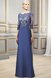Maxi 3-4 Sleeve Appliqued Bateau Neck Satin Formal Dress With Deep-V Back