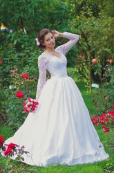 Vintage Inspired Long Lace Sleeves Tulle Wedding Dress With Lace Corset