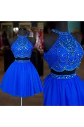 Two Piece Short Mini Sleeveless Halter High Neck Beading Chiffon Homecoming Dress