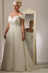 Plus Size Off Shoulder Tulle Bridal Gown With Lace Up