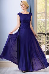 Cap-Sleeved A-Line Chiffon Mother Of The Bride Dress With Sequins And Appliques