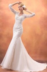 Impressive Siren Laced Half-Sleeve Gown With Brush Train
