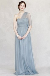 Empire One-Shoulder Ruched Tulle Bridesmaid Dress With Straps