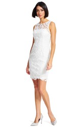 Short Sheath Bateau Neck Sleeveless Appliqued Lace Bridesmaid Dress
