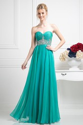 A-Line Sweetheart Chiffon Backless Dress With Ruching And Waist Jewellery
