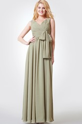 Ruched A-line Long Chiffon Dress With Bow and Straps