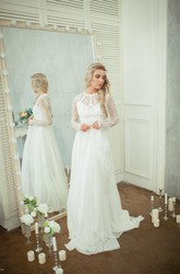 Long Sleeve Lace Bodice Chiffon Skirt A-Line Wedding Dress