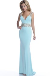 V-Neck Chiffon Mermaid Illusion Back Sleeveless Prom Dress With Sequined Straps And Belt